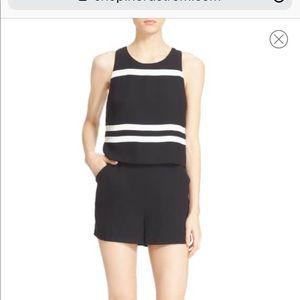 Parker Amor Sleeveless Stripe Black White Romper S